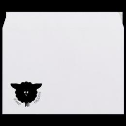 """Конверт средний С5 """"Round Sheep"""" - прикольно, юмор, смешное, оригинально, креативно, овечка"""