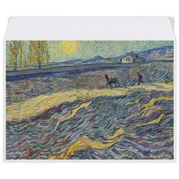 """Конверт средний С5 """"Вспаханное поле и пахарь (Винсент ван Гог)"""" - картина, пейзаж, ван гог, живопись, постимпрессионизм"""