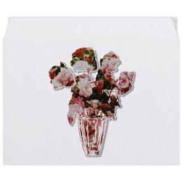 """Конверт средний С5 """"Весенний букет роз"""" - цветы, абстракция, розы, минимализм, букет"""