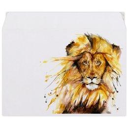 """Конверт средний С5 """"Львиный зов"""" - царь, животные, лев, мужчина, зверь"""