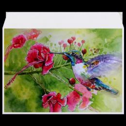 """Конверт средний С5 """"Птичка Колибри"""" - цветы, птица, колибри"""