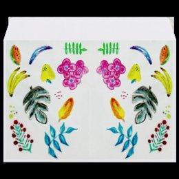 """Конверт средний С5 """"Фрукты"""" - листья, арбуз, цветы, бананы, фрукты"""