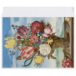 """Конверт средний С5 """"Букет цветов на полке (Амброзиус Босхарт)"""" - цветы, картина, живопись, натюрморт, босхарт"""