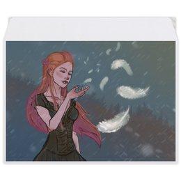 """Конверт средний С5 """"Перышко"""" - девушка, снег, рыжая, ветер, перышко"""