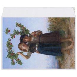 """Конверт средний С5 """"Вишневая ветвь (картина Вильяма Бугро)"""" - дружба, картина, академизм, живопись, бугро"""