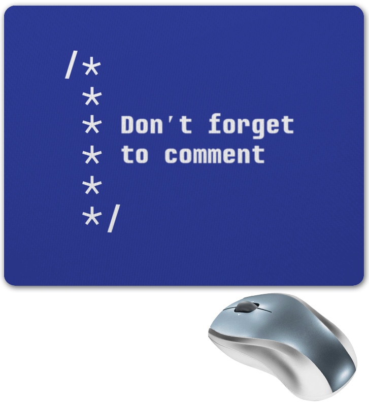 Коврик для мышки Printio Комментируй код лапомойка антицарапки цвет синий размер м