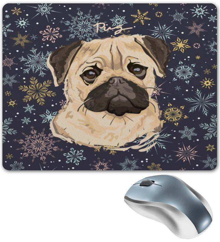 Коврик для мышки Printio Мопс и снежинки коврик для мышки круглый printio смешной мопс