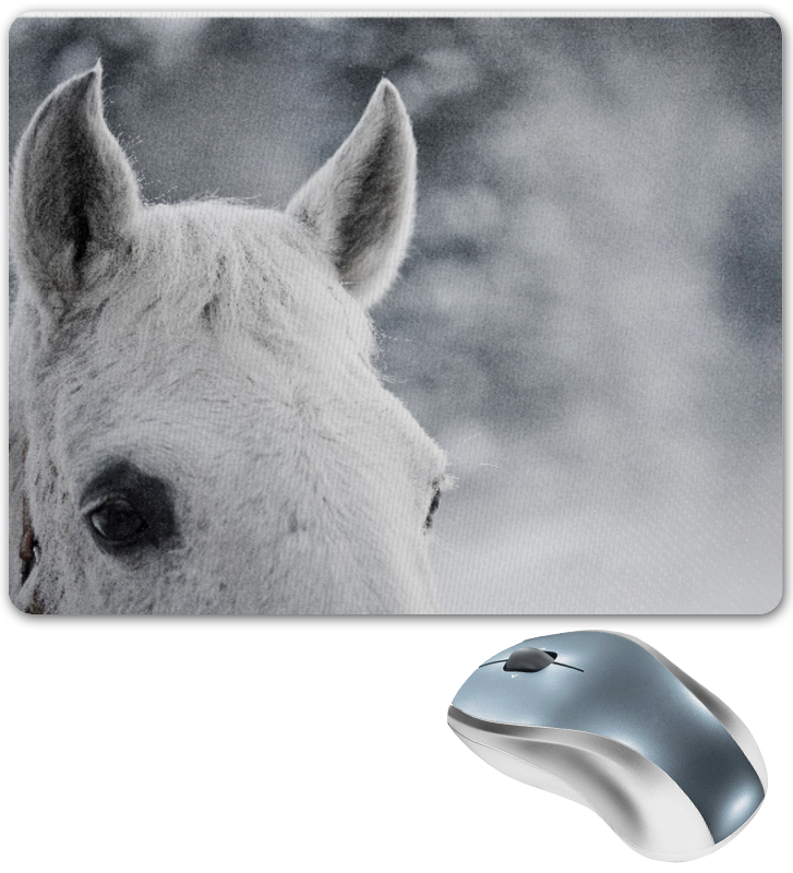 Коврик для мышки Printio Белая лошадь в снегу конный рыцарь в турнирном доспехе xvi век европа оловянная миниатюра авторская работа