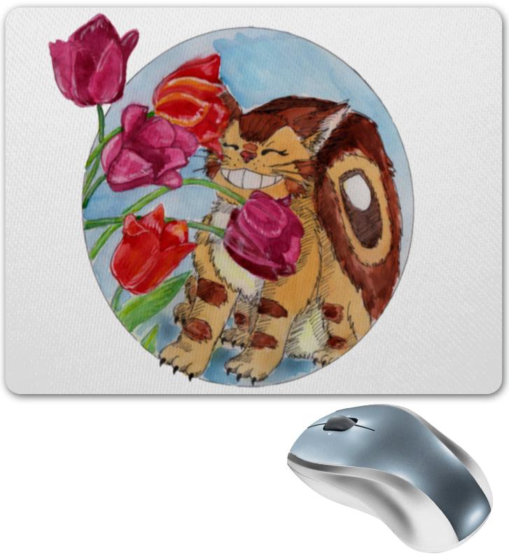 Коврик мышки Printio Котобус нюхает тюльпаны