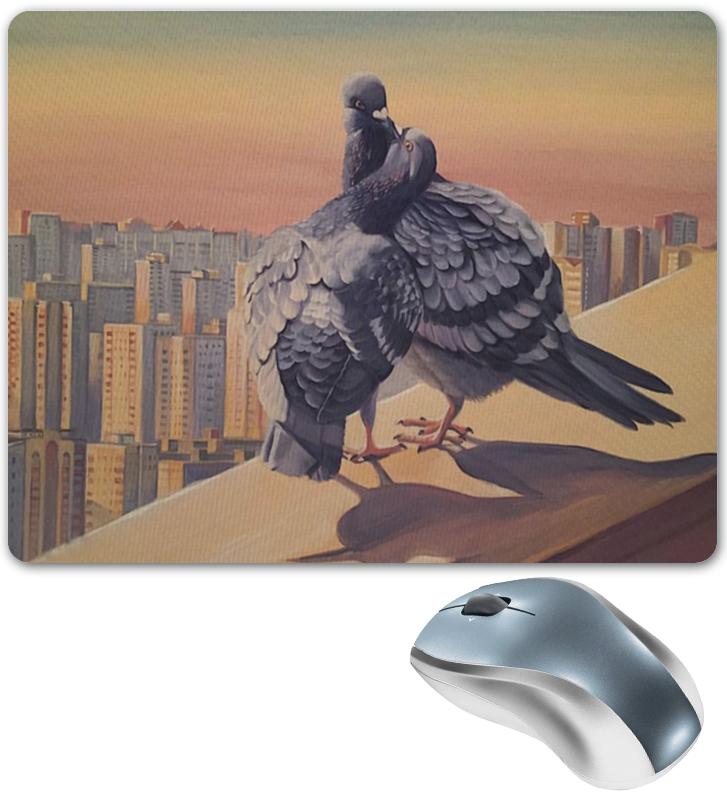 лучшая цена Printio Коврик для мыши с голубями на фоне ночного города