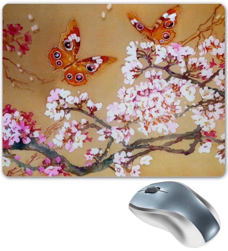 Коврик для мышки Printio Бабочки на цветущей вишне.