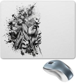 """Коврик для мышки """"индеец"""" - прикольно, арт, стиль, популярные, рисунок, в подарок, оригинально, креативно, авторский рисунок, выделись из толпы"""
