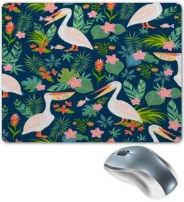 """Коврик для мышки """"Пеликан"""" - природа, цветы, пеликан, фламинго, птицы"""
