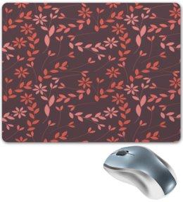 """Коврик для мышки """"Узор цветов"""" - цветы, узор, листья, деревья, природа"""