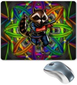 """Коврик для мышки """"Стражи Галактики: Реактивный Енот"""" - стражи галактики, guardians of the galaxy, реактивный енот, rocket raccoon, marvel"""