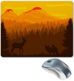"""Коврик для мышки """"Природа"""" - животные, лес, природа, пейзаж, олень"""
