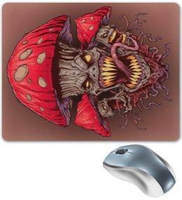 """Коврик для мышки """"Зловещие мухоморы"""" - прикол, гриб, грибы, зло, мухомор"""