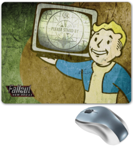 "Коврик для мышки ""Fallout New Vegas: Vault Boy"" - игры, fallout, vault boy, new vegas, please stand by"