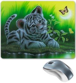 """Коврик для мышки """"ТИГРЕНОК"""" - бабочки, животные, вода, стиль эксклюзив креатив красота яркость, арт фэнтези"""