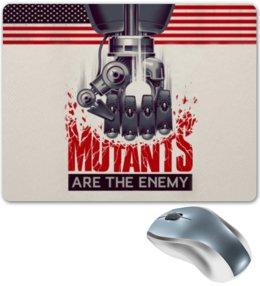 "Коврик для мышки ""Мутанты"" - надпись, рука, робот, флаг, железо"