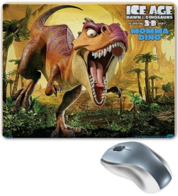 """Коврик для мышки """"ЛЕДНИКОВЫЙ ПЕРИОД. ICE AGE"""" - персонаж, надпись, стиль, динозавр"""