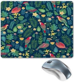 """Коврик для мышки """"Попугаи"""" - природа, цветы, листья, попугаи, птицы"""
