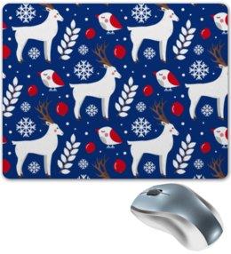 """Коврик для мышки """"Олени"""" - новый год, олень, снежинки"""