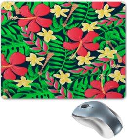 """Коврик для мышки """"Тропические цветы"""" - цветочки, листья, природа, цветы, тропики"""
