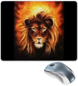 """Коврик для мышки """"Огненный лев"""" - лев, огонь, животное"""