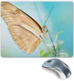 "Коврик для мышки ""Яркая бабочка на листочке"" - бабочка, цветок, алина макарова"