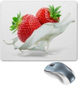 """Коврик для мышки """"Клубника"""" - клубника, сливки, фрукты, ягоды, еда"""