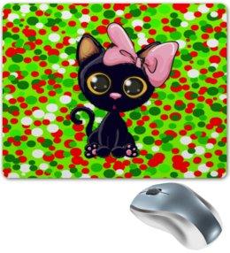 """Коврик для мышки """"Кошечка"""" - кот, кошка, животные, коты, круги"""