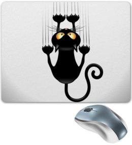 """Коврик для мышки """"Черный кот"""" - кот, кошка, cat, коты, котики"""