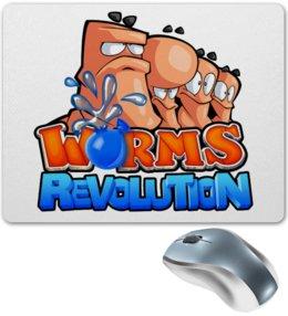 """Коврик для мышки """"Worms Revolution"""" - геймер, про игры, с играми, червячки, worms"""
