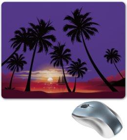 """Коврик для мышки """"Острова в океане"""" - море, закат, яхта, острова, пальмы"""