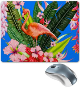 "Коврик для мышки ""Фламинго"" - фламинго, птица, цветы"