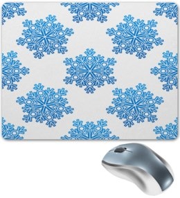 """Коврик для мышки """"Голубые снежинки"""" - новый год, узор, голубой, снег, снежинки"""