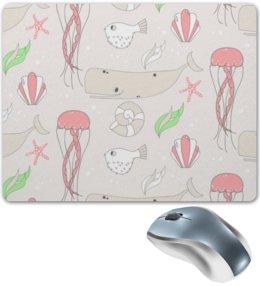 """Коврик для мышки """"Детский"""" - рыбы, медуза, морская звезда, морской, киты"""