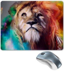"""Коврик для мышки """"Царь зверей"""" - лев, краски, царь зверей, грива"""