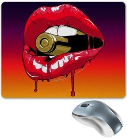 """Коврик для мышки """"Пуля во рту"""" - губы, рот, зубы, пуля, bullet"""