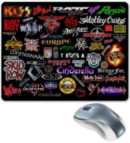 "Коврик для мышки ""Heavy metal - Glam metal Bands 80 years"" - heavy metal, hard rock, glam, рок группа, восьмидесятые"