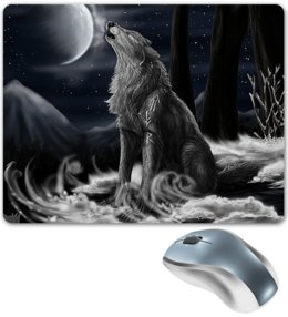 """Коврик для мышки """"ВОЛКИ ФЭНТЕЗИ"""" - стиль, руны, волк, магия, лунный свет"""