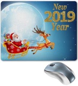 """Коврик для мышки """"Новый год"""" - новый год, санта клаус, олени, 2019"""