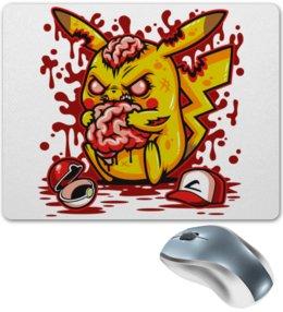 """Коврик для мышки """"Pikachu Blood"""" - мозг, зомби, кровь, покемон, пикачу"""