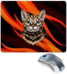 """Коврик для мышки """"Без названия"""" - кот, животные, котенок, огонь, пламя"""