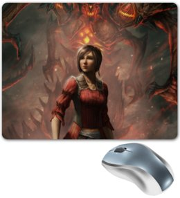"Коврик для мышки ""Diablo III"" - diablo iii, diablo, девушка, монстр, red"