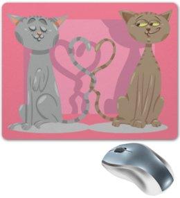 """Коврик для мышки """"Влюблённые коты"""" - любовь, коты, валентинка, день св валентина"""