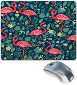 """Коврик для мышки """"Птицы и тропики"""" - природа, цветы, птички, фламинго, птицы"""