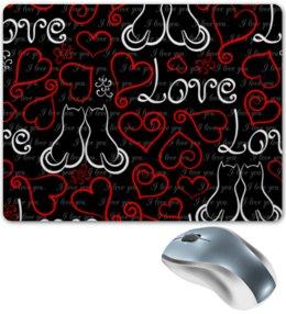 "Коврик для мышки ""День Св. Валентина"" - сердце, любовь, коты, день св валентина"