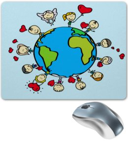 """Коврик для мышки """"Планета"""" - сердце, планета, земля, люди, шар"""